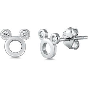 .925 Sterling Silver Clear CZ Mouse Stud Earrings
